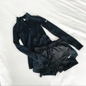 ❤️NIKE DRY FIT XS Set Shorts and Long Sleeve Black